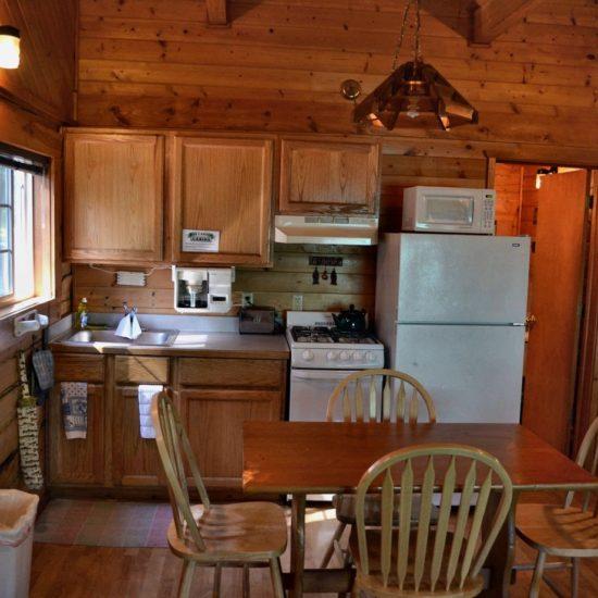 Fishermans Cabin kitchen at Box Canyon Cabins, Seward, AK.