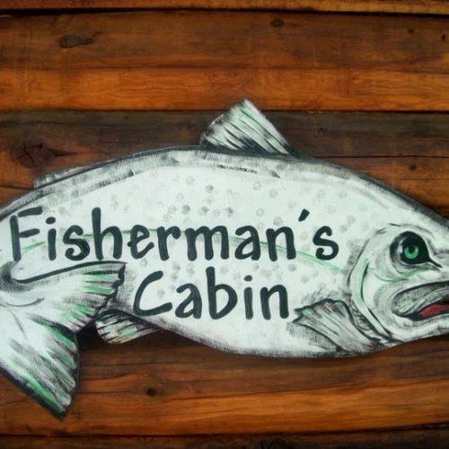 Fisheermans Cabin sign at Box Canyon Cabins, Seward, AK.