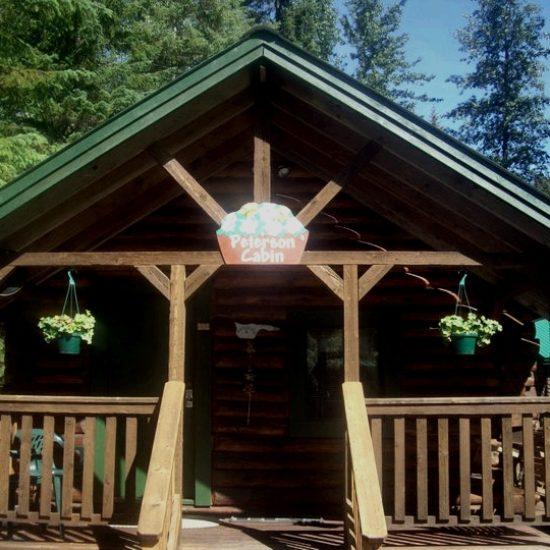 Peterson Cabin front view at Box Canyon Cabins, Seward, AK.
