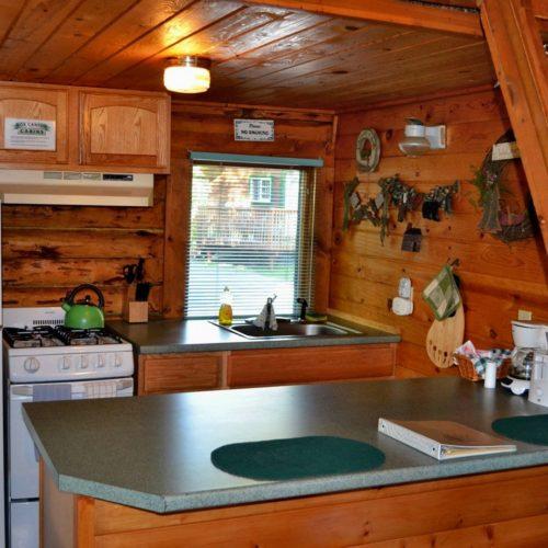 Peterson Cabin kitchen at Box Canyon Cabins, Seward, AK.
