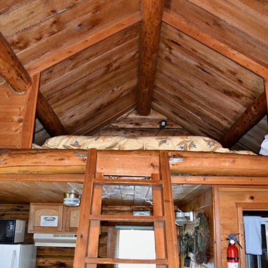 Peterson Cabin loft at Box Canyon Cabins, Seward, AK.