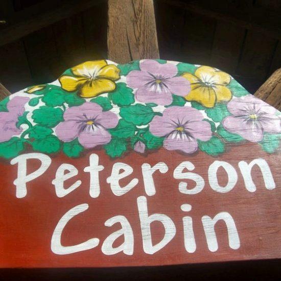 Peterson Cabin sign at Box Canyon Cabins, Seward, AK.
